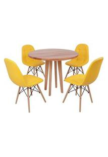 Conjunto Mesa De Jantar Em Madeira 90Cm Com Base Vértice + 4 Cadeiras Botonê - Amarelo