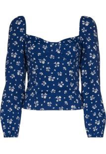 Reformation Blusa Reign Floral - Azul