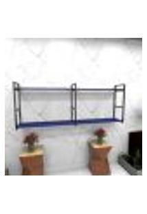 Estante Estilo Industrial Sala Aço Cor Preto 180X30X68Cm (C)X(L)X(A) Cor Mdf Azul Modelo Ind36Azsl