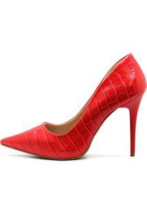 Scarpin Royalz Croco Penã©Lope Vermelho - Vermelho - Feminino - Sintã©Tico - Dafiti