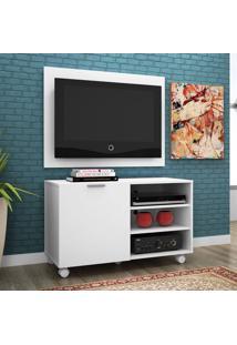 Rack Com Painel Para Tv 32 Polegadas Compaq Branco Acetinado 90 Cm