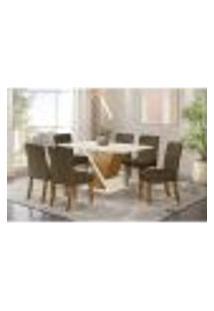 Conjunto Mesa Solus 160Cm + 6 Cadeiras Maris - Bege