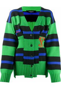 Versace Cardigan De Tricô Com Listras - Verde