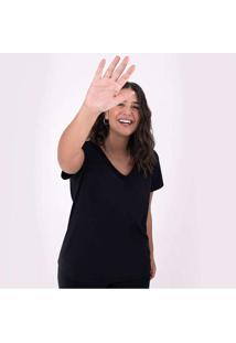 Camiseta Reta Feminina Gola V Anti Odor Super Cinz
