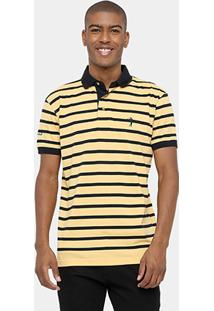 Camisa Polo Aleatory Malha Fio Tinto Listras - Masculino