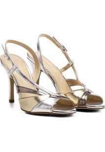 Sandália Shoestock Salto Fino Alto Ondas Feminina - Feminino-Prata