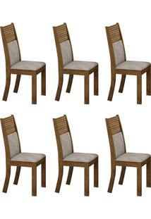 Conjunto Com 6 Cadeiras Havaí Ipê E Pena Palha