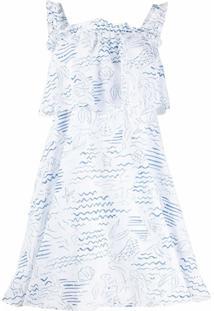 Kenzo Vestido Wave Mermaid Com Franzido - Branco