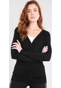 Cardigan Feminino Em Tricô Com Bolsos Preto