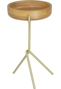 Mesa Apoio Monalisa Baixa Natural Base Aco Gold 43Cm - 60209 - Sun House