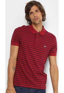 Camisa Polo Lacoste Piquet Listras Regular Fit Masculina - Masculino
