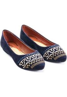Sapatilha Mizzi Shoes Camurça Bordado Grego Feminina - Feminino-Marinho