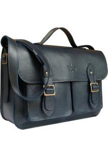 Bolsa Line Store Leather Satchel Pockets Grande Couro Azul Marinho. - Kanui