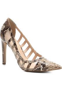 1fecbc07a ... Scarpin Couro Shoestock Salto Alto Com Tela - Feminino-Cobra
