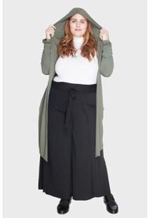 Casaco Bold Com Capuz Plus Size Gg Feminino - Feminino-Verde