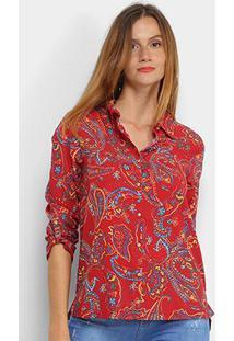 Camisa Marialicia Estampada Botões Feminina - Feminino-Vermelho