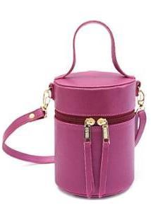 Bolsa Mini Bag Feminina Cilindro Transversal Maria Milão - Feminino-Roxo