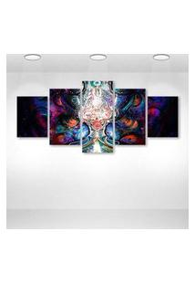Quadro Decorativo - Psychedelic Digital Art - Composto De 5 Quadros
