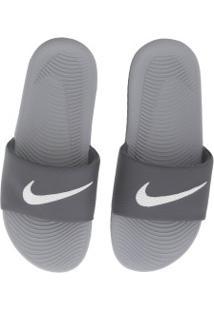 Chinelo Nike Kawa - Slide - Masculino - Cinza Escuro/Branco