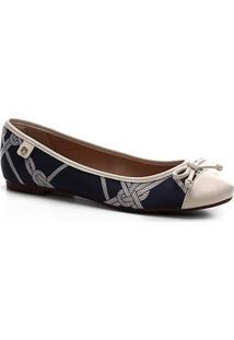 Sapatilha Shoestock Seda Laço Bico Redondo - Feminino-Azul