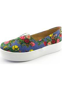Tênis Azul Floral feminino  0a8945fa7afb0