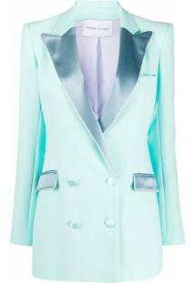 Hebe Studio Blazer Com Lapelas Contrastantes - Azul