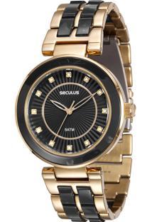 e263b92802f E Clock. Relógio Analógico Feminino Dourado Seculus 20410lpsvdf4