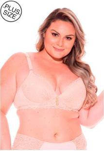 Sutiã Costas Rendada Dukley Lingerie Plus Size - Feminino-Bege Claro