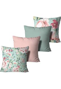 Kit 4 Capas Para Almofadas Decorativas Love Decor Floral Rosa