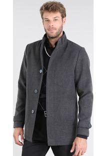 Jaqueta Masculina Com Bolsos Cinza Mescla Escuro