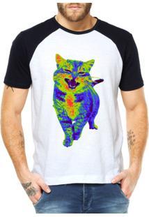 Camiseta Raglan Criativa Urbana Gato Psicodélico - Masculino-Branco