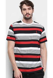 Camiseta Aleatory Listrada Masculina - Masculino-Preto+Branco