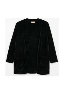 Casaco Alongado Com Bolsos Curve & Plus Size | Ashua Curve E Plus Size | Preto | G