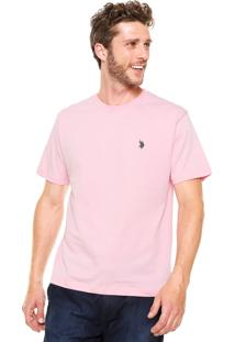 Camiseta U.S. Polo Bordado Rosa