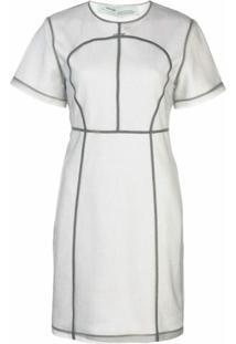 Off-White Vestido Com Detalhe De Costura - Cinza