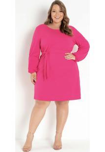 Vestido Pink Com Faixa Na Cintura Plus Size
