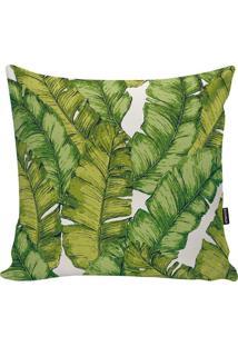 Capa De Almofada Tropical- Verde & Branca- 45X45Cm