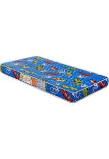 Colchão De Berço Baby Luxo D18 Azul 130X60X12 Branco C/Ursinhos Celiflex