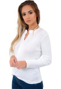 Blusa Feminina Livora Camisa Botão Tricot Nó Branco