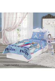 Lepper Edredom Dupla Face Frozenâ® Solteiro Azul Claro & Lilã¡S 150X220C