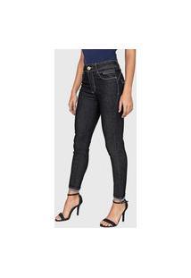 Calça Jeans Sawary Skinny Cropped Coração Azul-Marinho