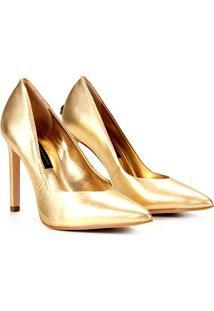 Scarpin Couro Jorge Bischoff Metalizado Salto Alto - Feminino-Dourado