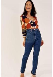 Calça Slim Cropped Cintura Alta Abertura Barra Ervadoce Feminina - Feminino-Azul