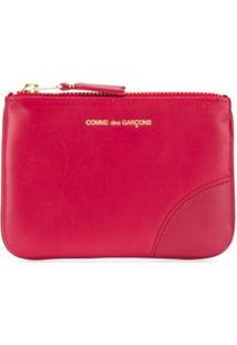 Comme Des Garçons Wallet Carteira Com Zíper E Logo - Vermelho