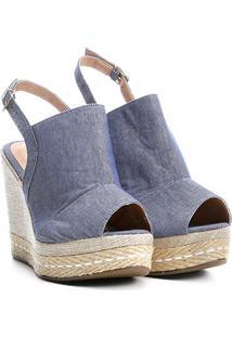 Sandália Anabela Griffe Salto Alto Jeans Feminina - Feminino-Azul Claro