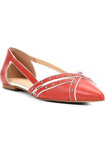 Sapatilha Couro Shoestock Bico Fino Cravos Feminina - Feminino-Vermelho