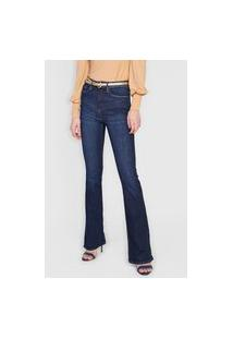 Calça Jeans Calvin Klein Jeans Flare Pespontos Azul