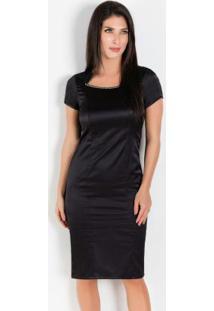 Vestido Moda Evangélica De Cetim Preto