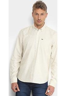 Camisa Lacoste Manga Longa Masculina - Masculino-Amarelo+Branco
