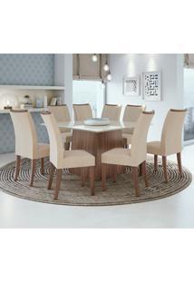 Conjunto De Mesa De Jantar Nevada Com 8 Cadeiras Atacama Linho Off White E Bege